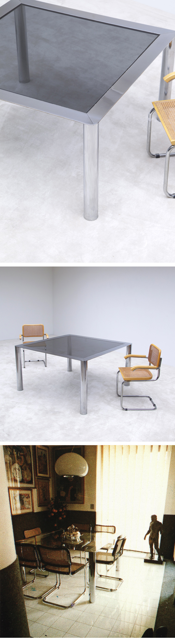 Modern, 1970s, chrome, square, dining table