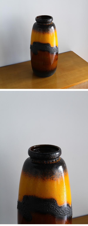 Scheruich, Ceramic, Tall, Lava, Glaze, Vase, Relief