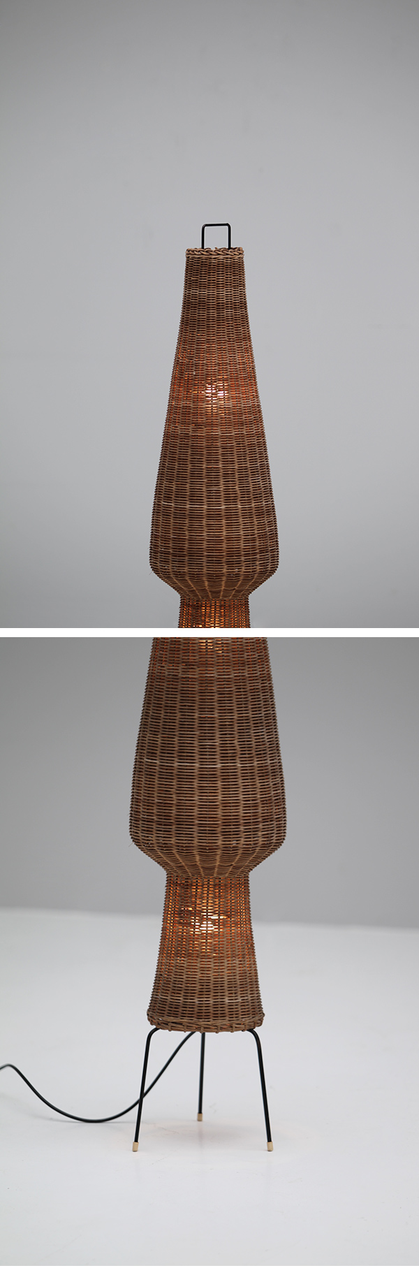 1950s, woven cane, floor lamp, vintage