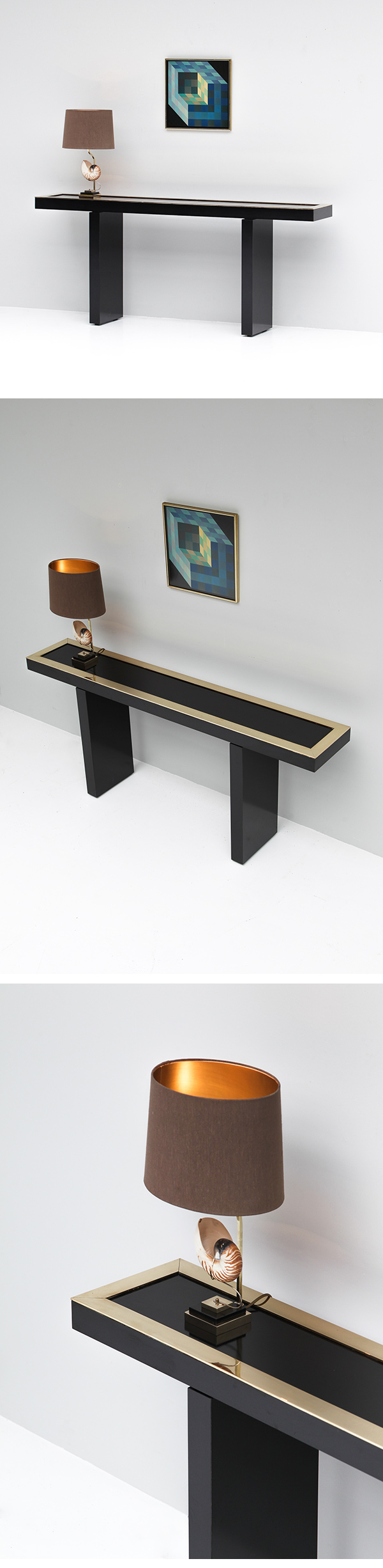 1970s, blackn laminated and brass console