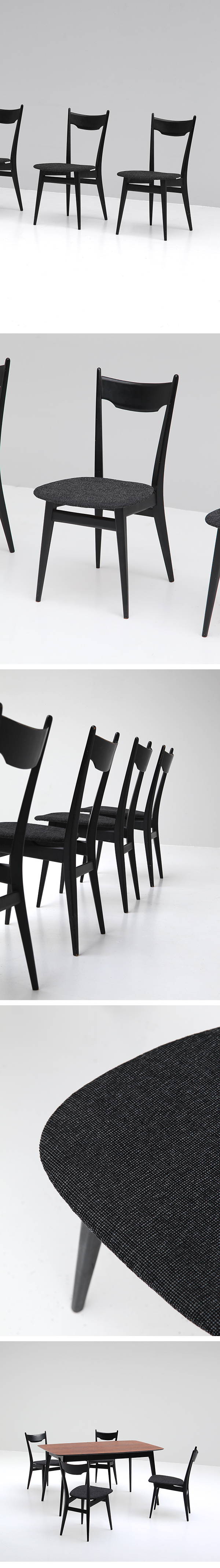 ELEGANT, EBONIZED, DINING CHAIRS, Alfred Hendrickx