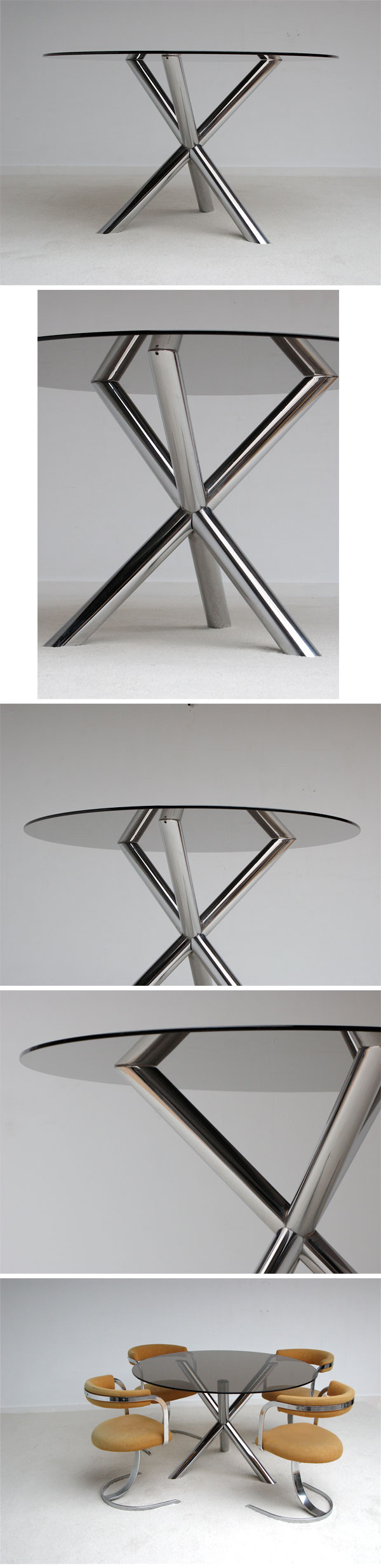 1970's, Modern, chromed, steel, dining, table, willy rizzo, cardin