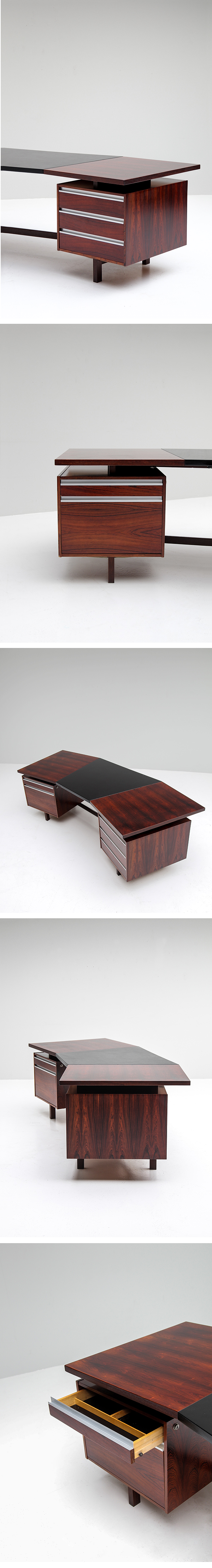 Rosewood, Boomerang, Desk, Danish, Modern, 1970s, Leather