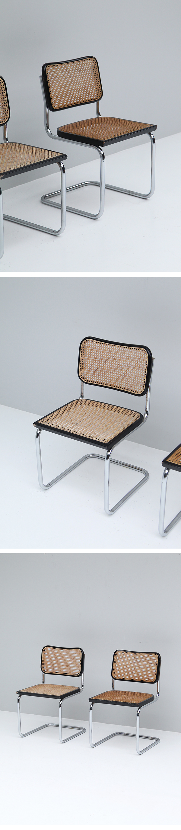 70s, Cantilever, Woven, Cane, Chrome, Dining, Chairs
