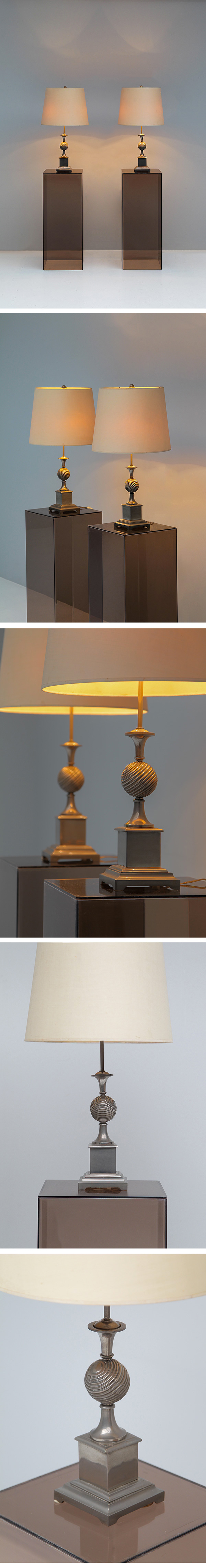Pair, 1970s, French, table, lamps