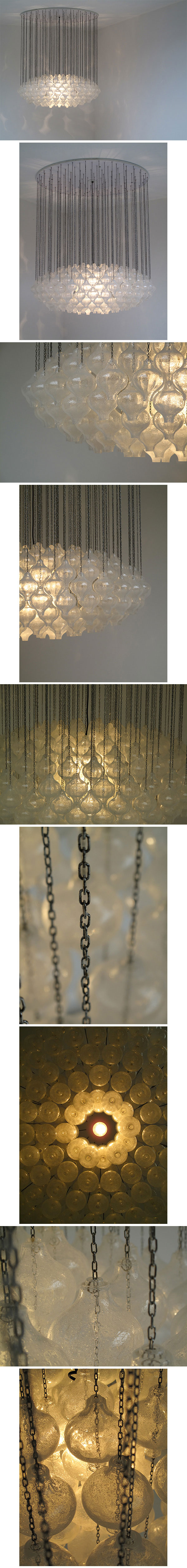 1960s, chandelier, crystal, glass, bulbs, produced, Julius, Kalmar