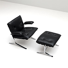 """JOKER"" CHAIR WITH OTTOMAN BY OLIVIER MOURGUE"