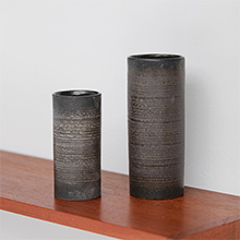 BLACK GREY CYLINDRICAL CERAMIC VASES