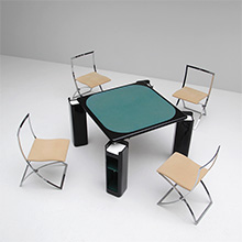 Gaming table in black lacquered wood