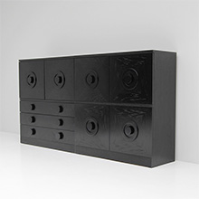 BLACK EBONIZED SIDEBOARDS WITH GRAPHIC DOORS