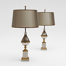 Charles Fils Pair of Gilt Bronze 'Lotus' Table Lamps