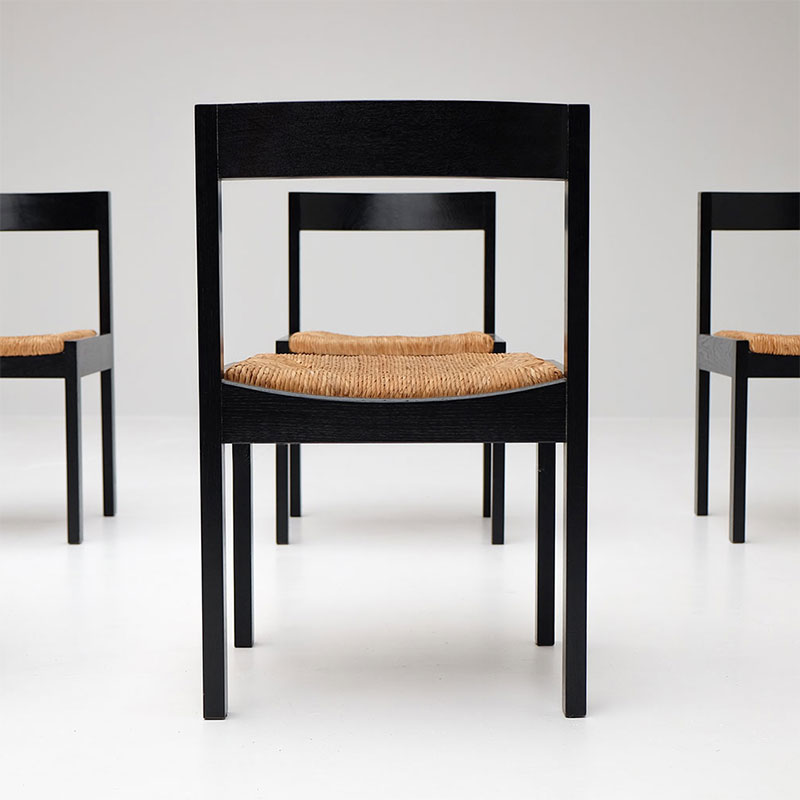 A Set of 6  Rush Seated Chairs