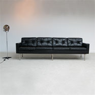 4 seat black leather Artifort sofa 1960s
