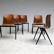 6 industrial plywood chairs on V shaped iron base