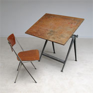 Industrial Reply drafting table and Pyramid chair Wim Rietveld