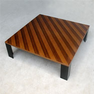 Nice square 70s coffee table with inlayed slant stripes