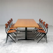 70s De Marko industrial dining / working table and 8 chairs