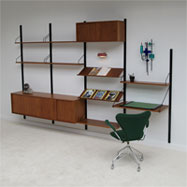 60s Poul Cadovius Royal System floating wall unit with writing desk