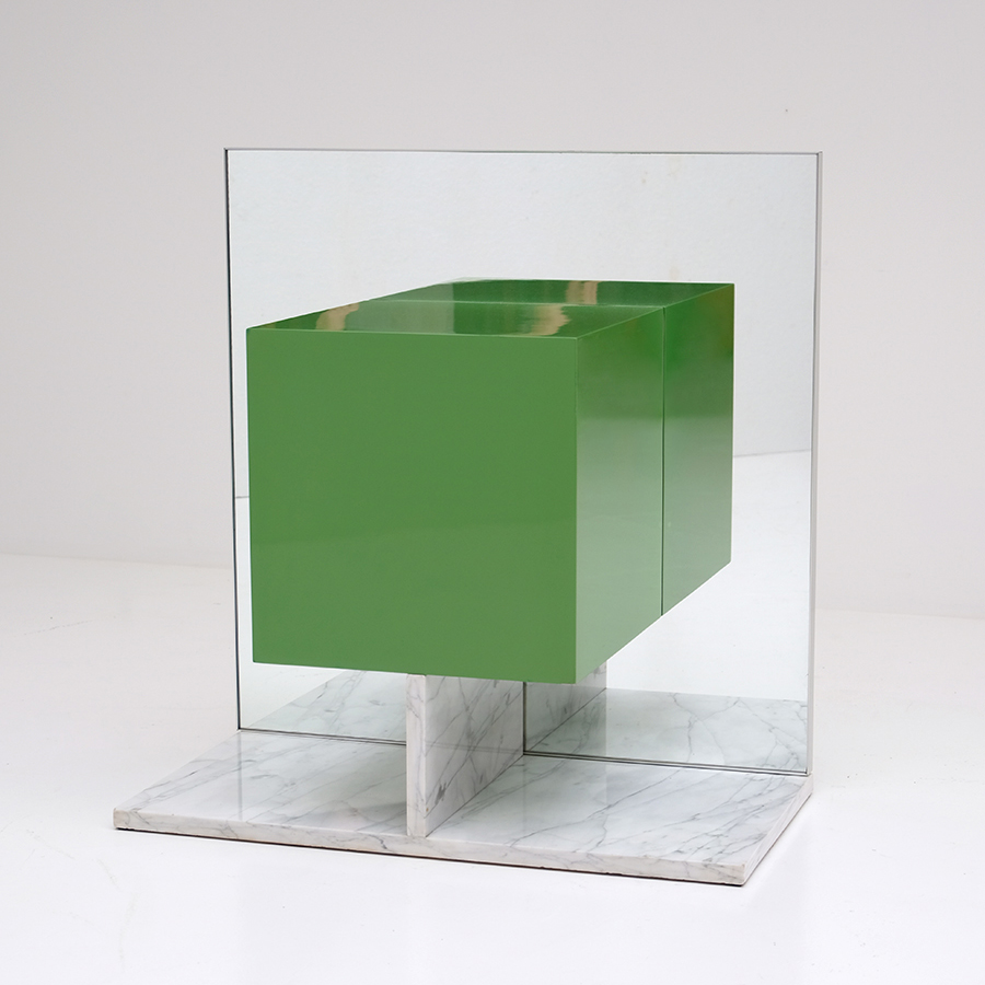 Pieter De Bruyne Green Mirror Cabinet With Marble Base 1974