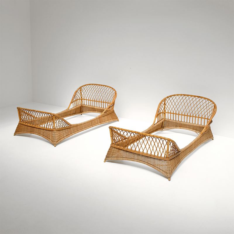 Two 1950s Rattan Daybeds