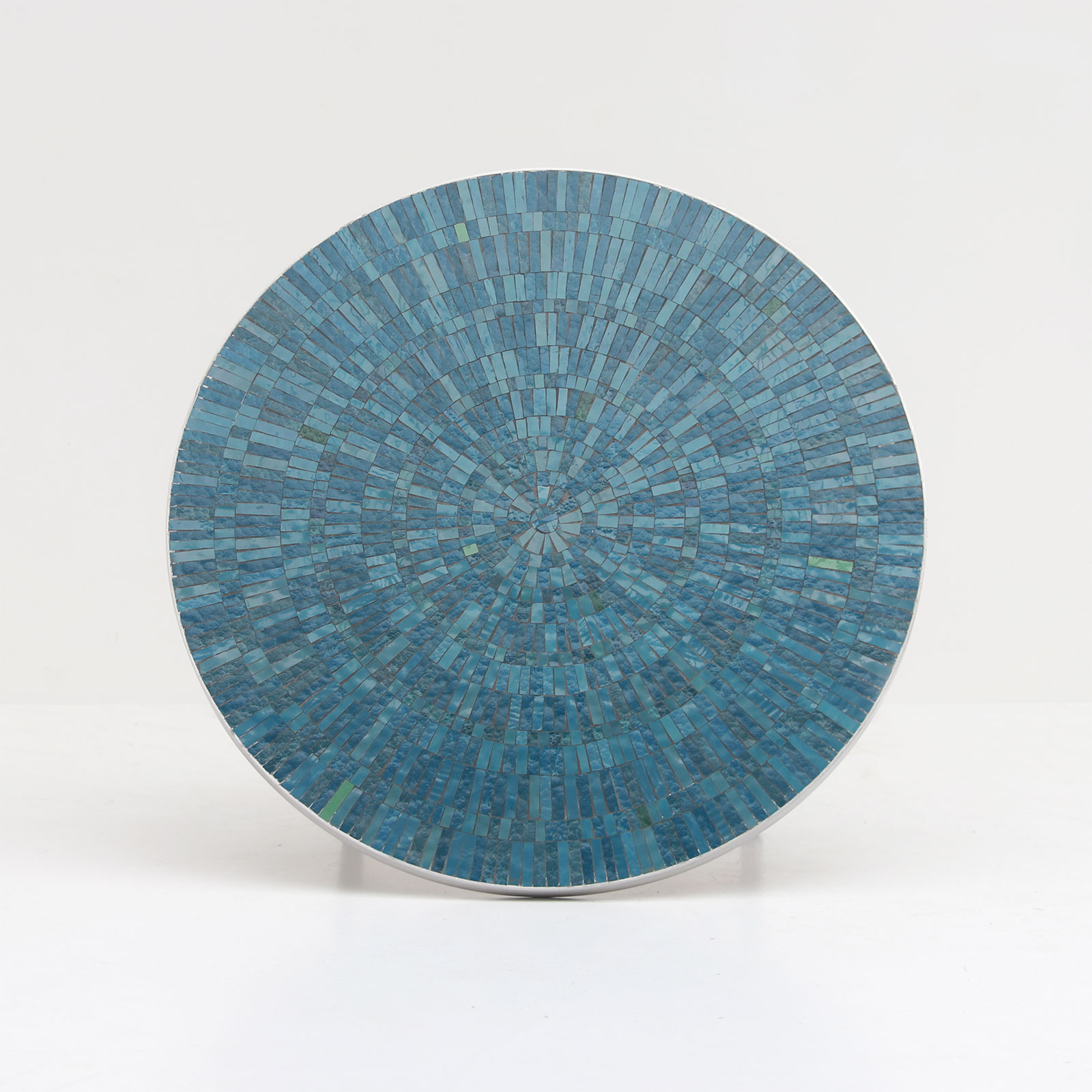 1960s Azure Round Ceramic Coffee Table