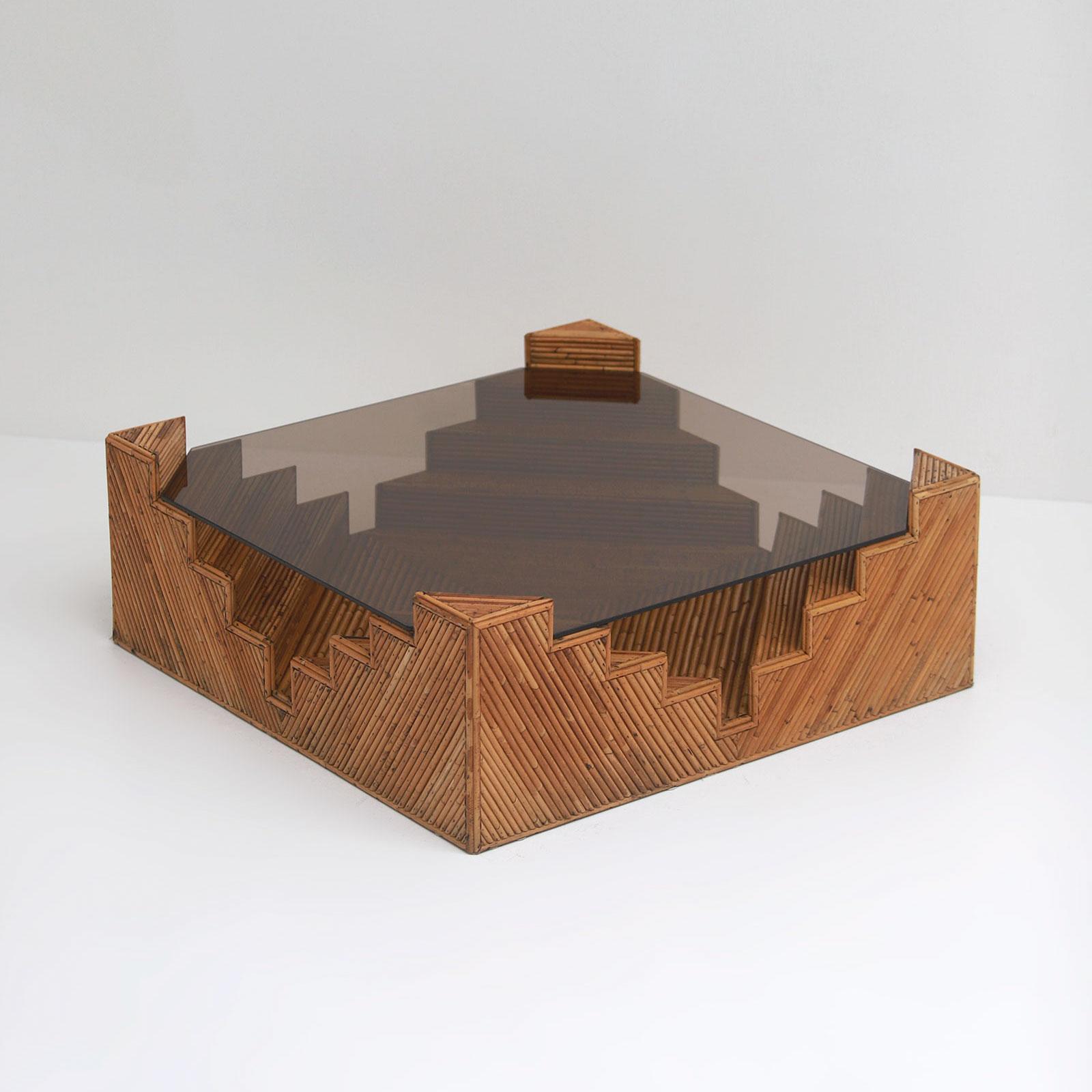Decorative bamboo coffee table 1970