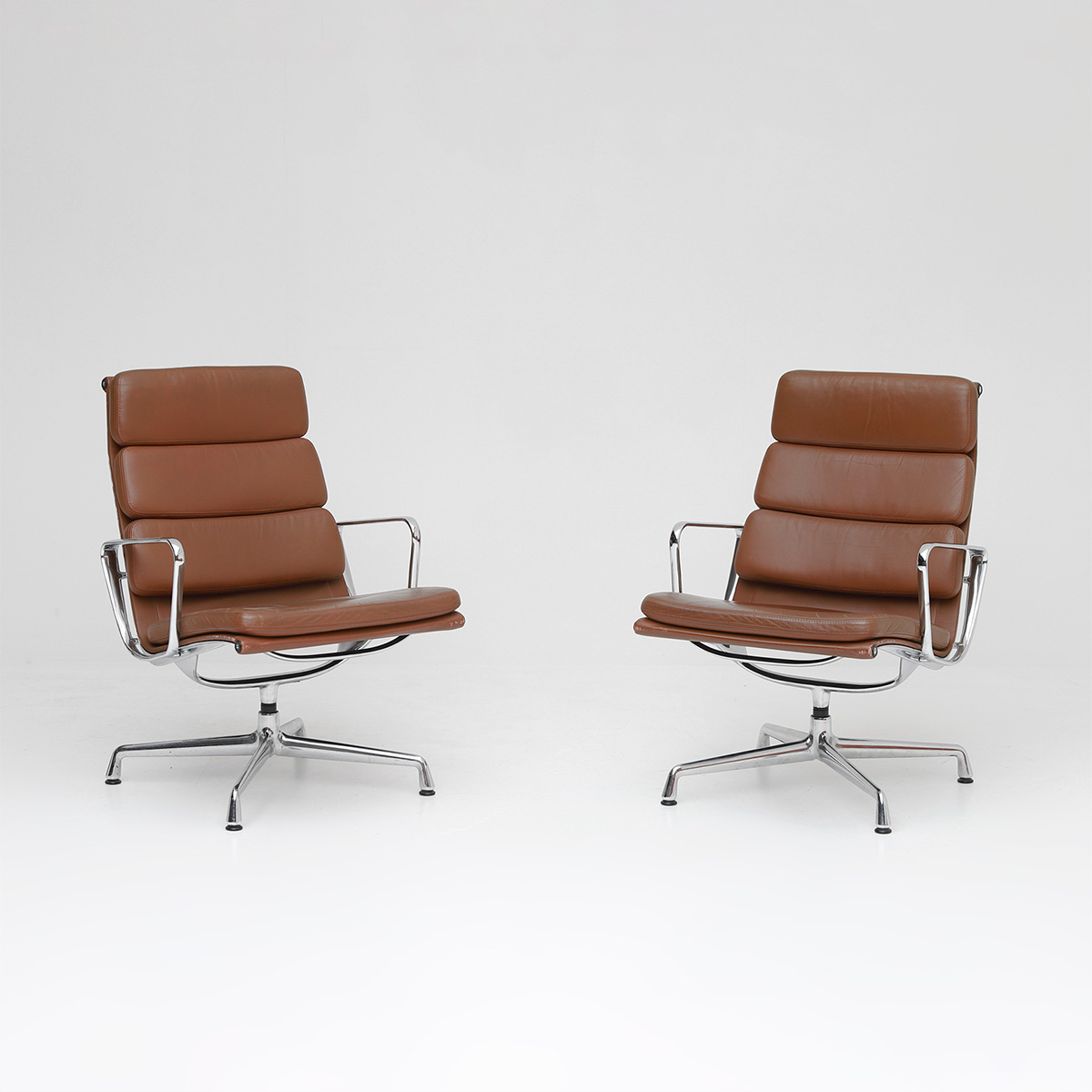 Pair of Eames  Aluminium EA216 Armchairs