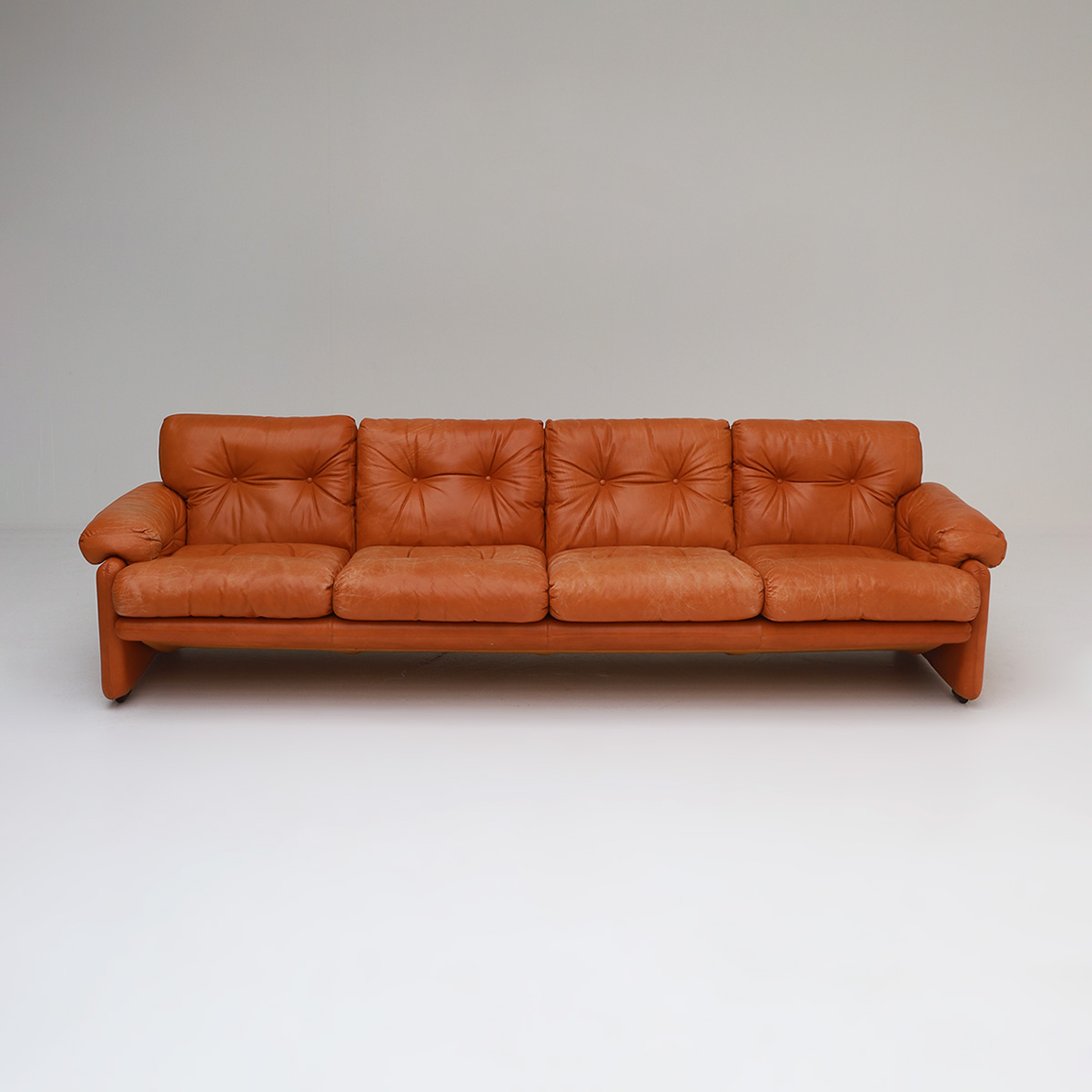 Tobia Scarpa 4 seat Cognac Leather Sofa B&B Italia