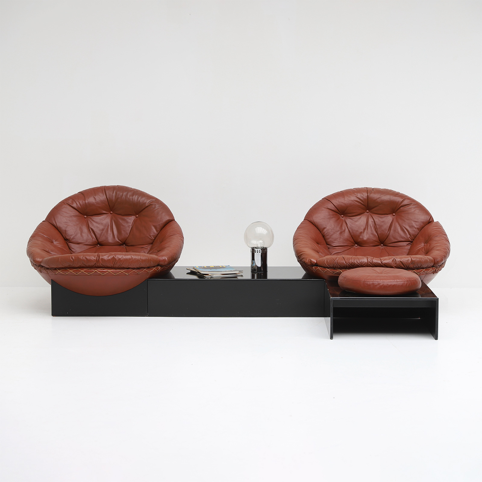 Leather Lounge Chairs by Illum Wikkelso for Ryesberg 1970s