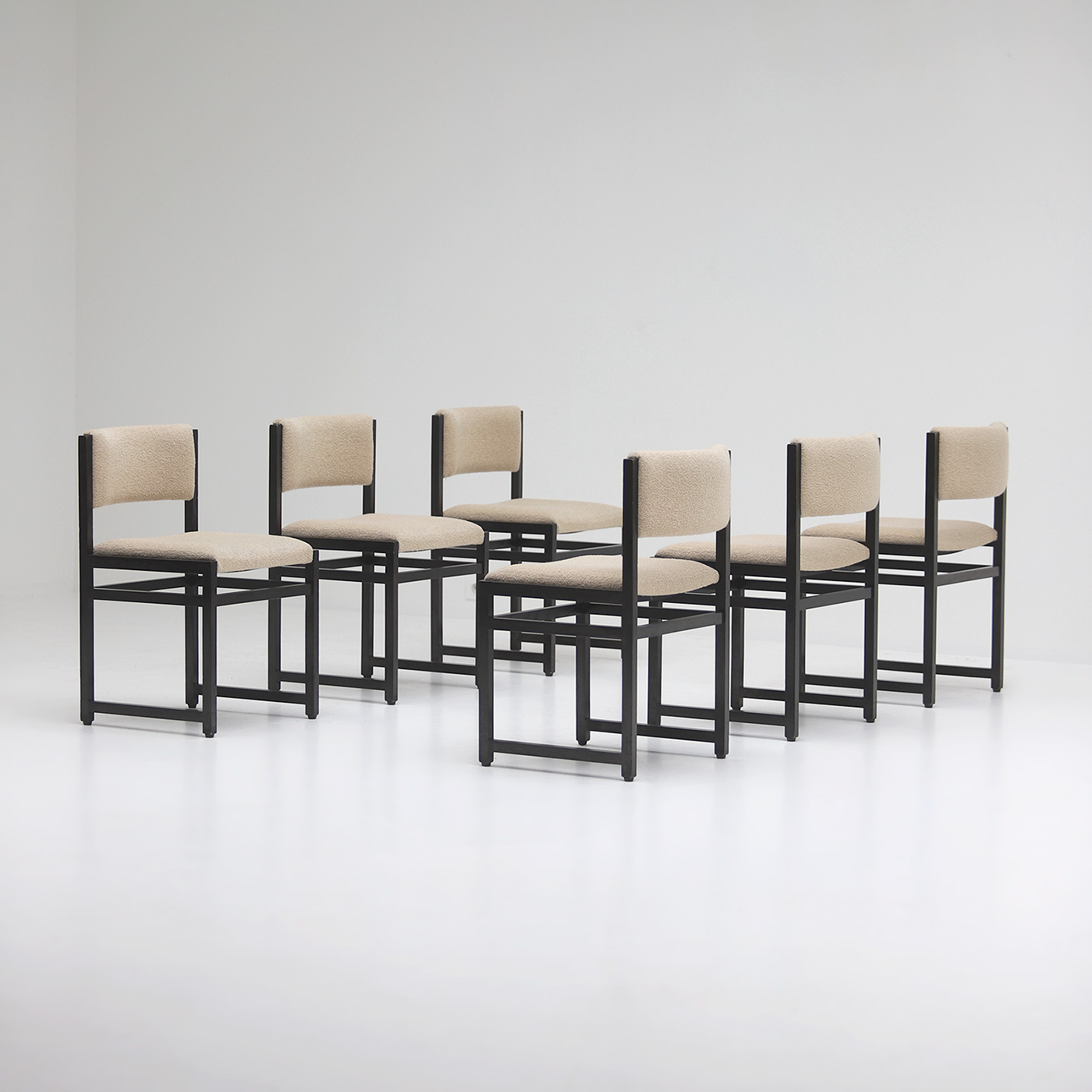 Six Black Stained Oak Chairs with Bouclé Upholstery