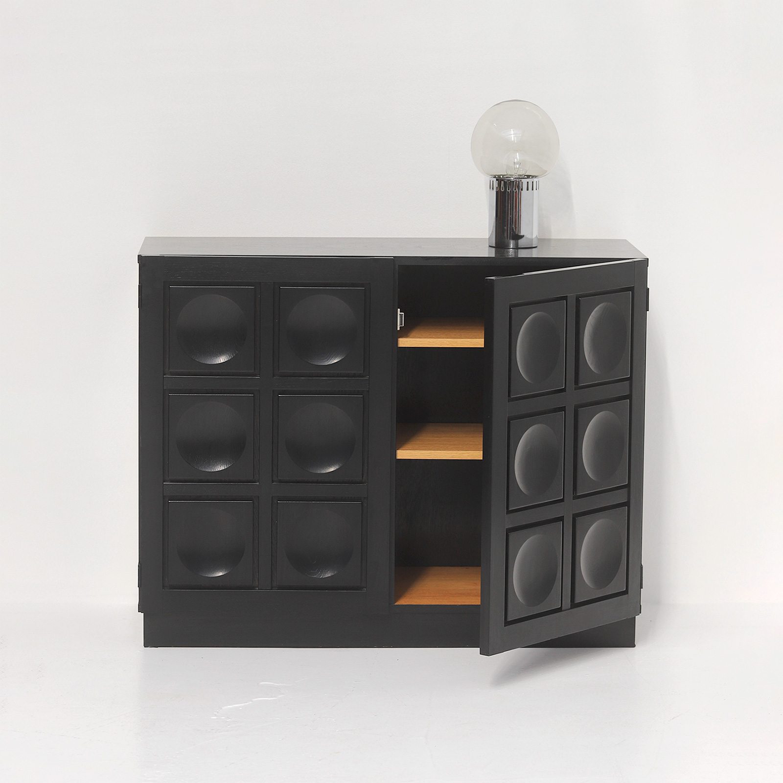 Black Stained Credenza with Geometric Doors