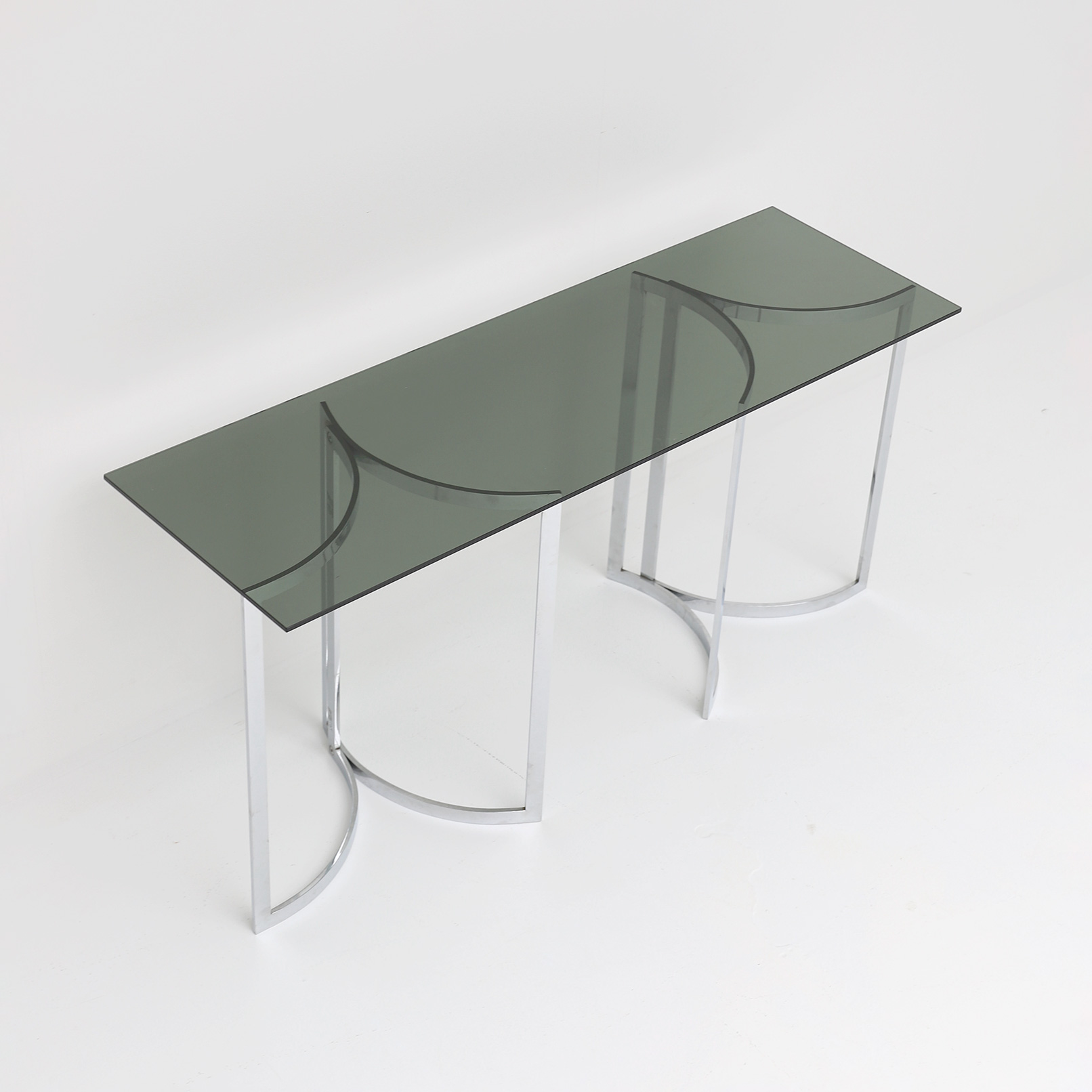70s Chrome and glass console