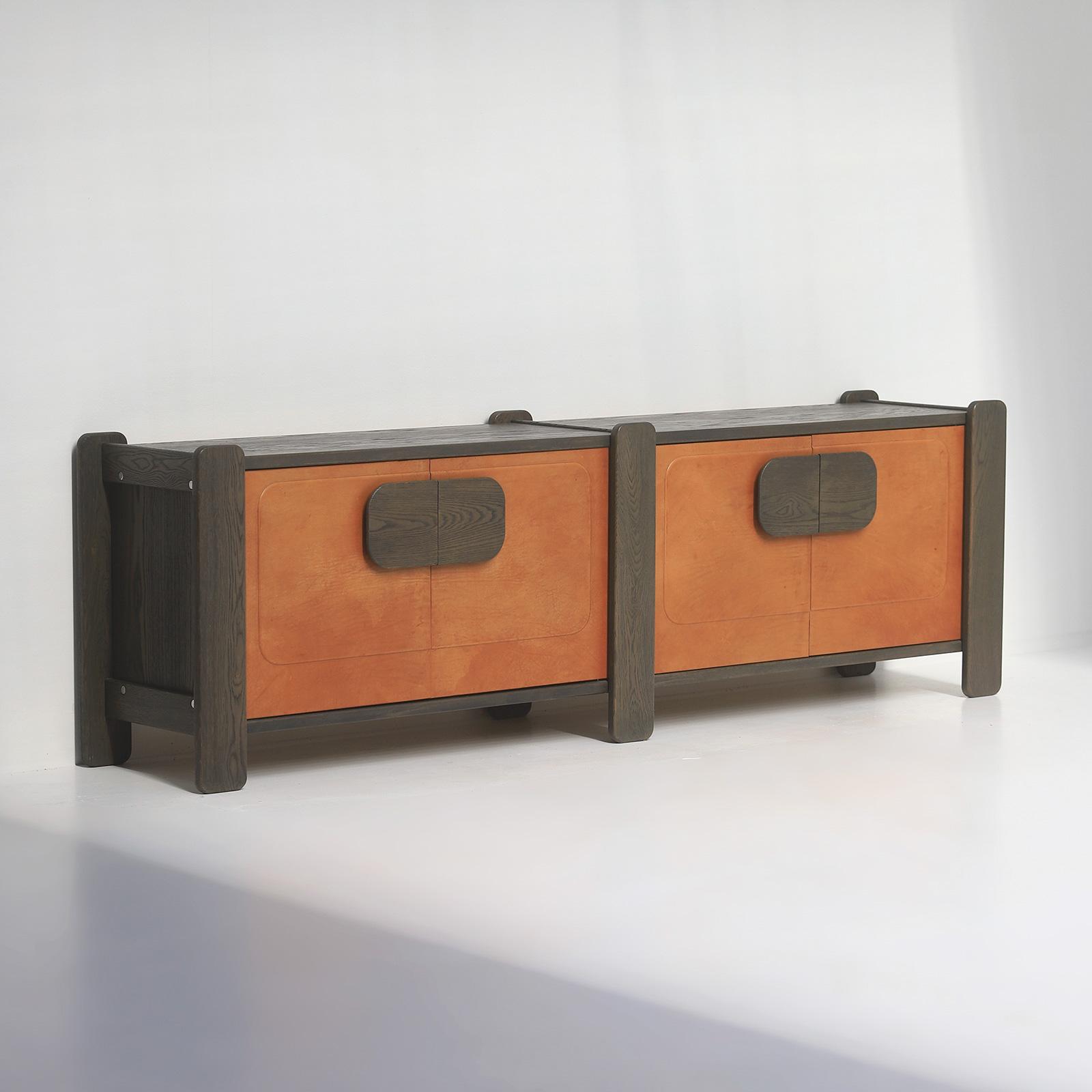 Unique 1970s Sideboard Cognac Leather Doors