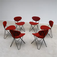 Beautiful UMS pastoe set of 6 hairpin wire chairs