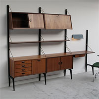 1950s dutch Webe wall unit with writing desk