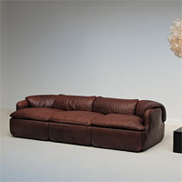 Alberto Rosselli confidential 3 seat leather sofa system 1970s