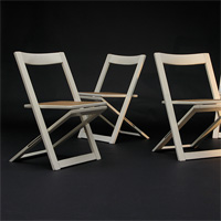 4 decorative white laquered folding chairs 1970s