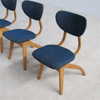 A set of 4 chairs designed by Van Oss dutch design 1950s