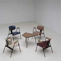 Willy Van Der Meeren Table and chairs Tubax