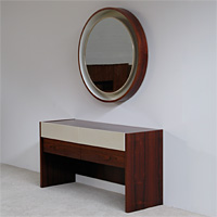 Decorative round mirror with console 1960s