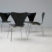 6 Arne Jacobsen Black 3107 chairs produced by Fritz Hansen dated 1967