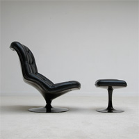1970s Belgium Beaufort lounge chair with foot stool ottoman