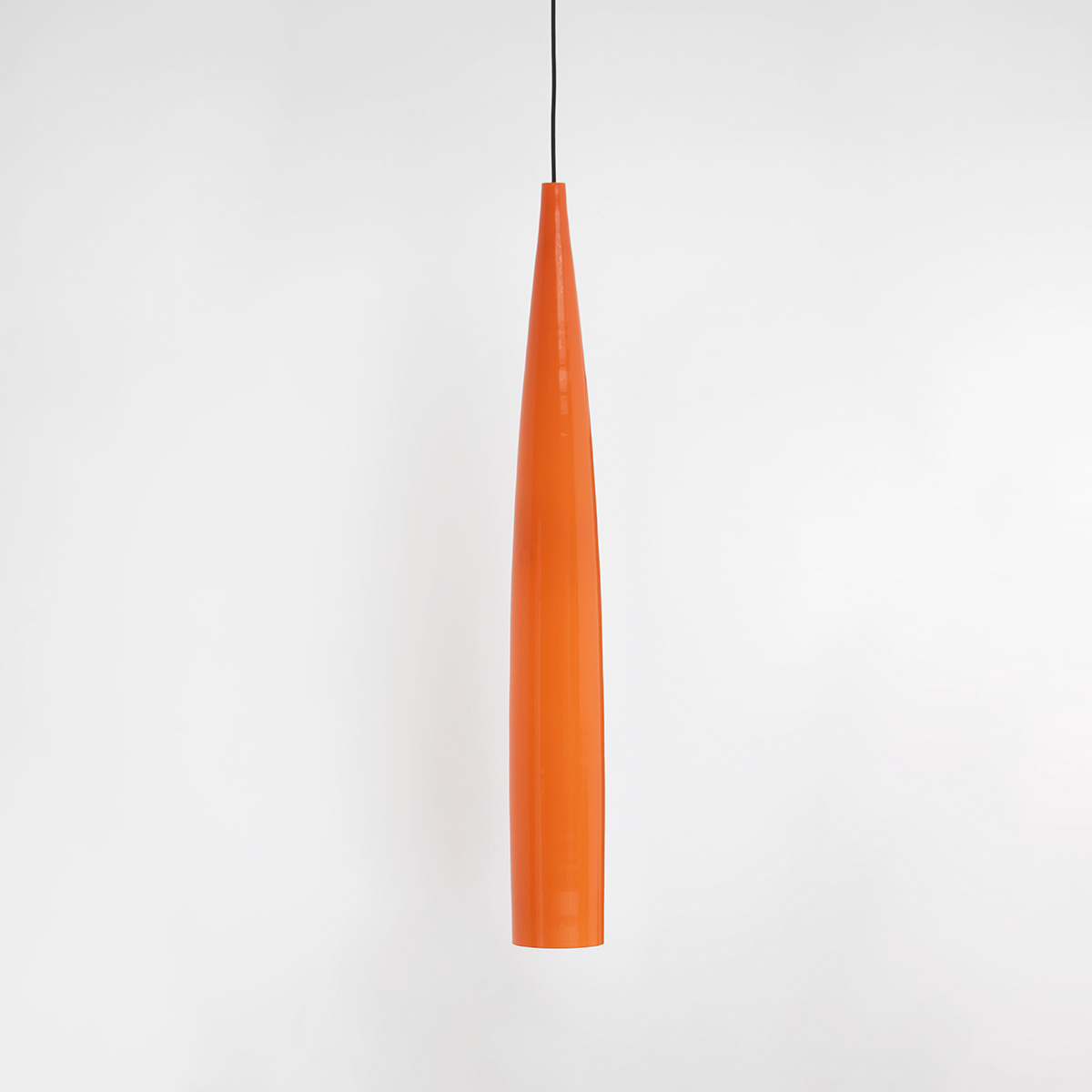 Orange tube pendant lamp by Gino Vistosi