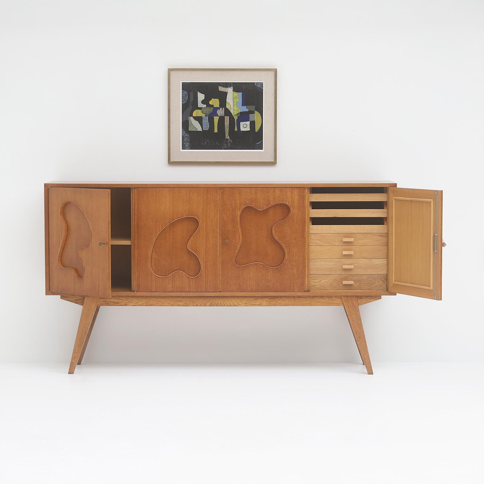 1950s Oak sideboard Free form Shaped Doors