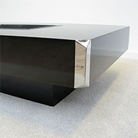 1970s willy rizzo  black coffee table with chrome details