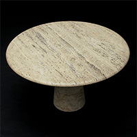 70s Round travertin dining table