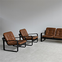 1970s Pastoe sofa set 3+1+1 with brown leather cushions