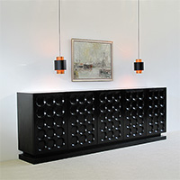 Black ebonized modernist sideboard with graphic doors circa70
