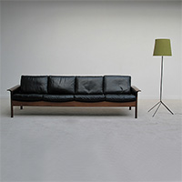 1960s Hans Olsen rosewood black leather 4 seat sofa