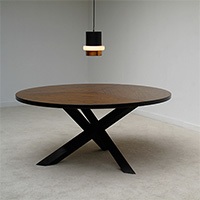 1960s round vintage wenge dining table